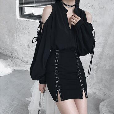 Модная Корейская юбка, тренд сезона. Новая  Цвет: черный Размер:S,М Р