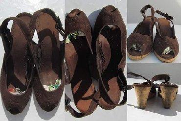 Braon-kozne-sandale-broj-pitajte - Srbija: Kao nove braon lagane sandale broj 39