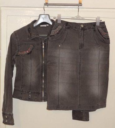 Костюм-двойка джинсовый серого цвета в Бишкек