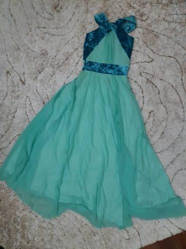 Платья - Цвет: Зеленый - Кок-Ой: Платье длинное с разрезом, вверх обрамлен бархатом. Сидит шикарно