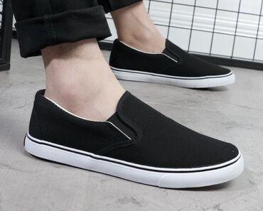 Женская обувь - Кыргызстан: Слипоны повседневные В наличии чёрные с чёрной подошвой