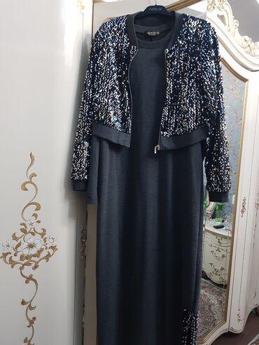 трикотаж платье в Кыргызстан: Трикотажное платье как раз на зиму одевала один раз размер 48-50