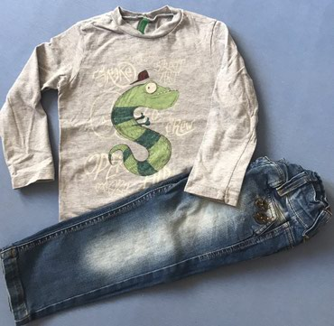 Farmerke i benetton majica, velicina za 2-3 godine. - Crvenka