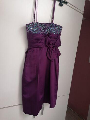 Haljine - Ruski Krstur: Ljubičasta haljina, nošena jednom. Bez oštećenja, veličina