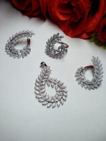 Комплекты из элитного серебра. Серебр пробы покрытое родием