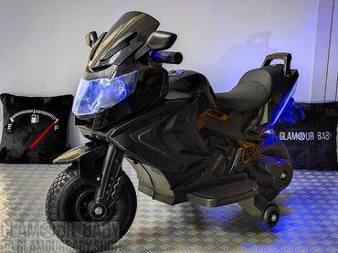 Детский мотоцикл Kawasaki черный↑Для деток от 3 до 9 лет❄Мягкие