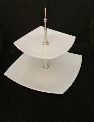 Этажерка белая (фруктовница 2-х ярусная) белая, высота изделия 25 см