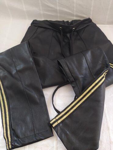 Pantalone zlatne - Srbija: Kozne pantalone, S velicina, kao nove!