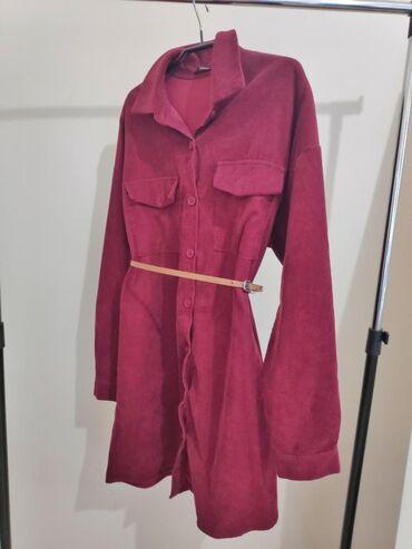 Κόκκινο σουετ πουκάμισο-φόρεμα