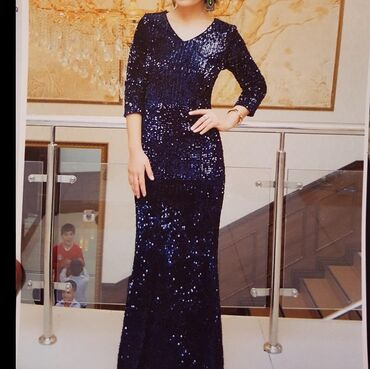 Вечернее платье темно синее размер 38 турция надевала 1 раз тел