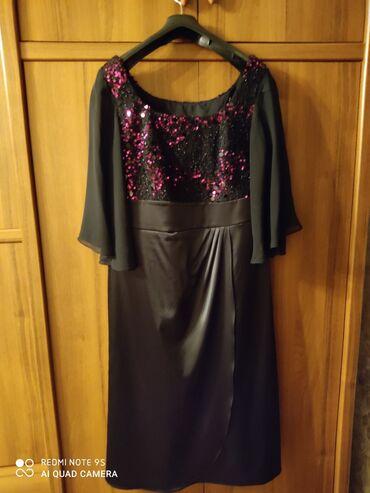 женское платье без рукавов в Кыргызстан: Платье женское б/у, одето один раз, Турция, размер 50, ткань атлас