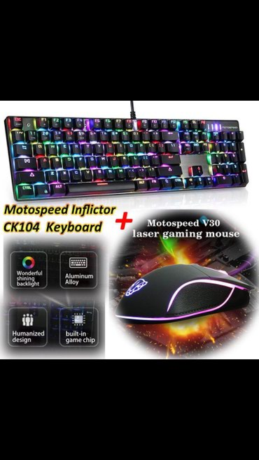 Motospeed inflictor ck104 mechnical RGB keyboard + motospeed v30 σε Athens