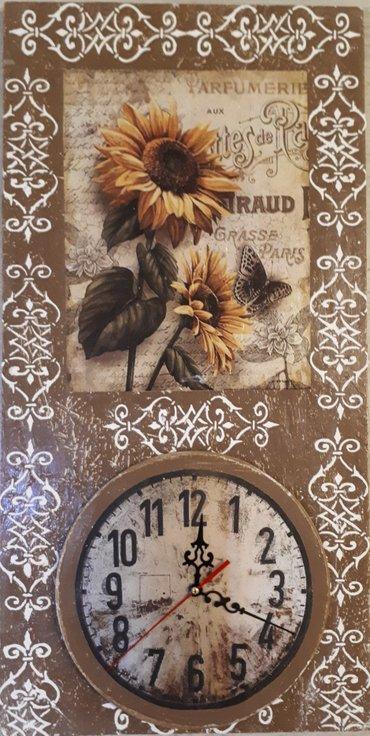 Drveni zidni sat dimenzija 30x60 cm. Rucni rad. - Vrsac