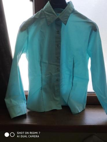 женские замшевые кроссовки в Азербайджан: Рубашка Etam женская бирюзового цвета с отделочными стежками из шёлка