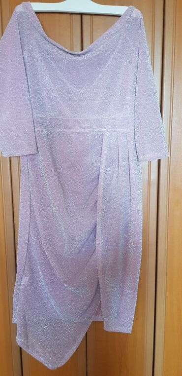 Haljina NOVA, roze, camac izraz, donji deo na preklop, svecana