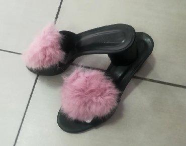 Papuče sa prirodnim zečijim krznom Štikla 4cm Novo Br 38