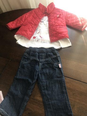 костюм школьника 18 в Кыргызстан: Шикарная тройка на весну Куртка +кофточка+ джинсы Состояние отличное