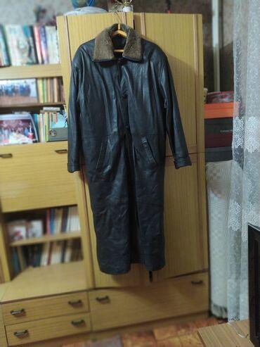 Плащ или пальто натуральная кожа, внутри чистый мех съёмный размер 50