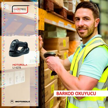 Skanerlər - Azərbaycan: Motorola LI 4278 1D barkod oxuyucusu kabelsiz istifadəsi ilə