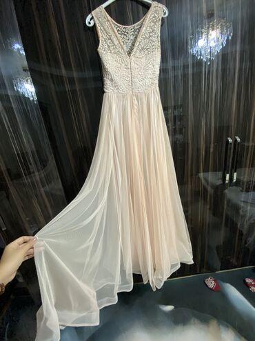 трикотажные платья полоску в Кыргызстан: Персиков цвета вечернее платье, подойдёт на размер 42-44 (s-m), на