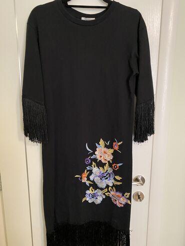 ZARA. Φόρεμα με κρόσια και κέντημα
