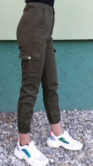 Tricetvrt pantalone - Srbija: Ženske pantalone džeparke,duboki struk (novo)S,M,L,Xl
