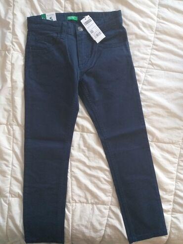 Dečija odeća i obuća - Rumenka: Nove Benetton pantalone za decaka, vel.6-7g.(120cm).Teget boja