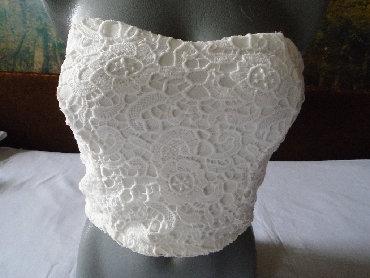 Slonova kost - Srbija: Čipkasti topič boje slonove kosti, postavljen. Veličina nije naznačena