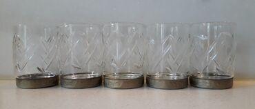 5 ποτηράκια λικέρ vintage, με μεταλλική βάση, ταγιαρισμένα