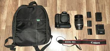Fotoaparatlar - Gəncə: Canon 70DEFS 18-200 mm obyektivÜç ədəd batareykaİki ədəd adapdır70D