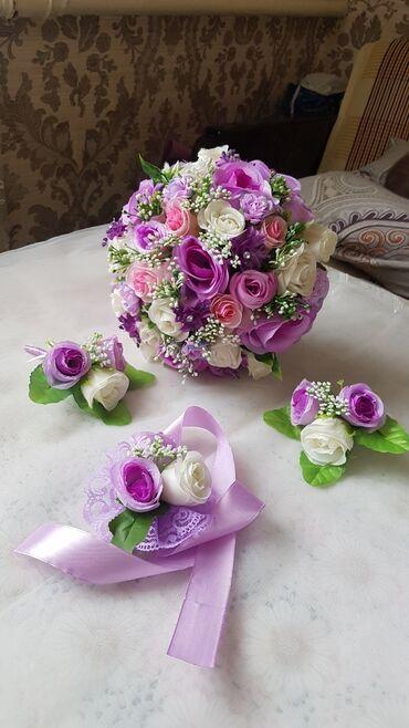 букеты ручной работы в Кыргызстан: Свадебный комплект ручной работы (Искусственные цветы) Есть разные