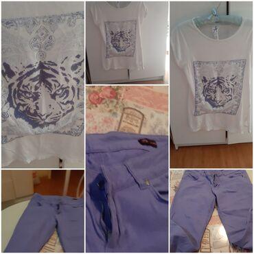 I pantalone broj - Srbija: Komplet majica i pantalone za 500,imam i kardigan u lila