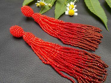 бисера в Кыргызстан: Модные серьги ручной работы из бисера. Длинные. Цвет градиент
