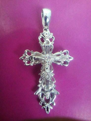 Серебряный крест 925 пробы 3,55 гр., ручной работы.авторский. в Бишкек