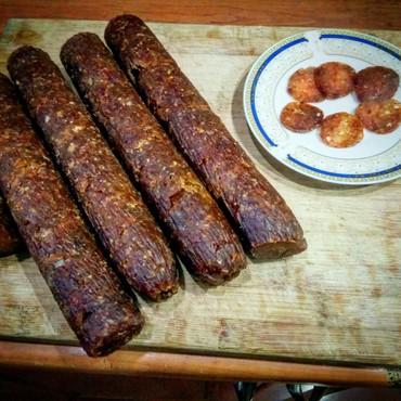 Готовые блюда, кулинария - Кыргызстан: Сыровяленная колбаса из курицы готова