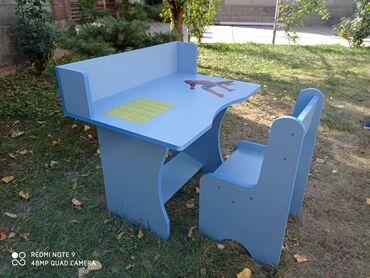 Детская мебель - Цвет: Красный - Бишкек: Многофункциональная детская парта ( детский стол, стул) для вашего реб