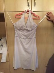 Φορεμα - Ελλαδα: Λευκο φορεμα μιντι με μπλε λεπτομερεια, αριστη κατασταση, πολυ καλη