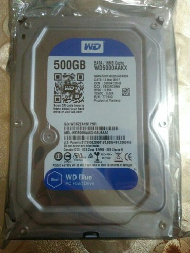 """Bakı şəhərində 3.5"""" Hard Disk satılır... Firma WD Blue 500Gb Təzədir,  Zəmanətlidir.."""