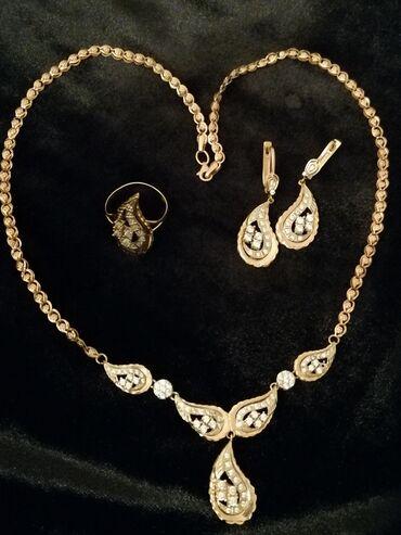 женские золотые серьги в Азербайджан: Золотой набор 21 гр проба 585 золото России