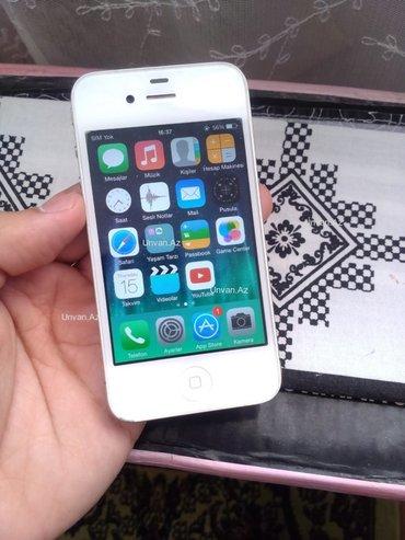 Bakı şəhərində Iphone 4-8gb yaddas.  Ios 7-adaptr varidi.  Her seyidr ishlekdir