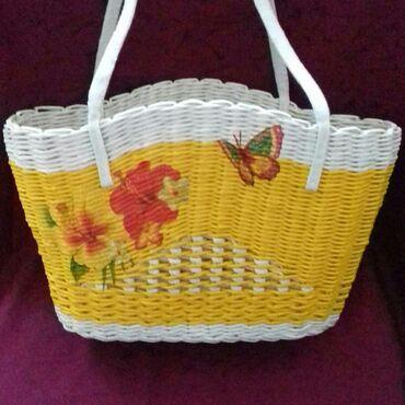 дорожная-сумка-орифлейм в Кыргызстан: Продаю плетеную летнюю сумку-корзинку ручной работы. Длина дна 27 см