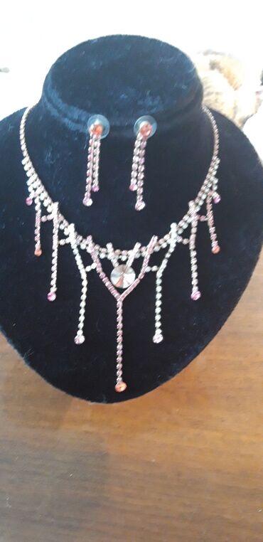 Колье и серьги розовый комплект красивая бижутерия штучная   ком