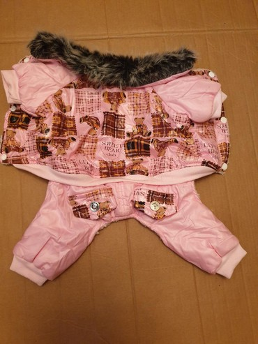 домик для маленькой собаки в Азербайджан: Одежда для собак, утепленная с воротником. Длина спинки 28 см., объем