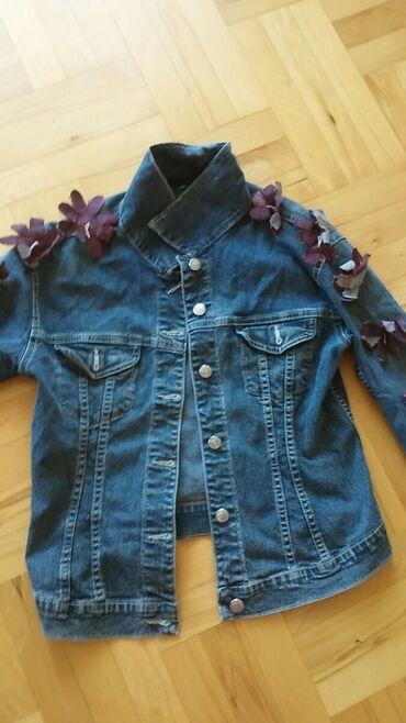 Ski rukavice - Srbija: Teksas jaknica sa cvetivima od teksasa na rukavima M velicina nije