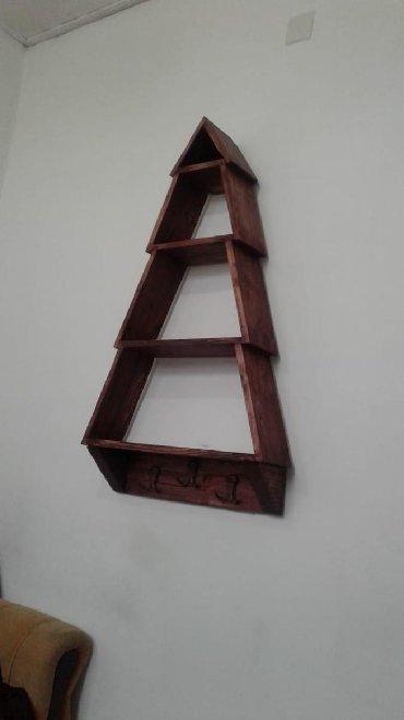 вешалка из дерева в Азербайджан: Полка вешалка, высота 100, ширина 60, глубина 18, цвет венге,из дерева