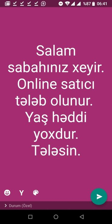 Satış - Azərbaycan: Satış agentləri. Nəqliyyatsız. Təcrübəsiz. Natamam iş günü