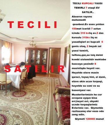 Bakı şəhərində Tecili kupcali yaxsi temirli 7 otaqli ev satilir.. Abseron rayonu