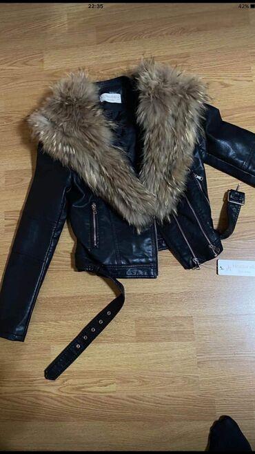 Jakna sa krznom - Srbija: Kozna jakna sa pravim krznom lisice nova sa etiketom samo mi je stajal