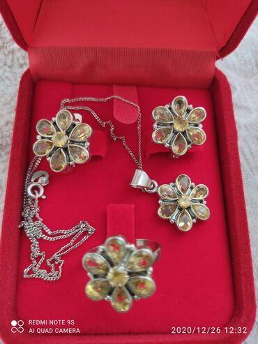украшения из биссера в Кыргызстан: Продаю очень красивый комплект из серебра с желтым топазом ( кулон