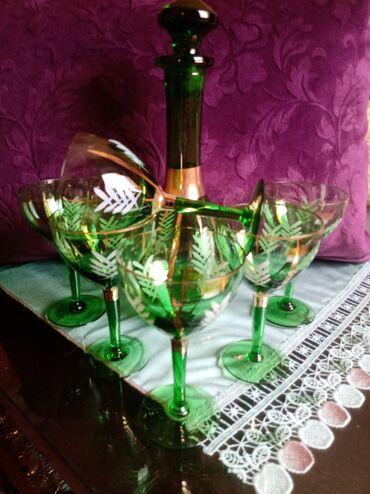 Čaše za piće - Srbija: Komplet za vino nov. Jako star komplet. Flasa visina. 30cm. 6